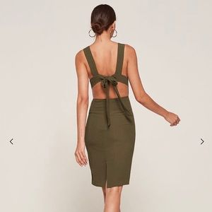 Reformation Lucca Dress in Army Green